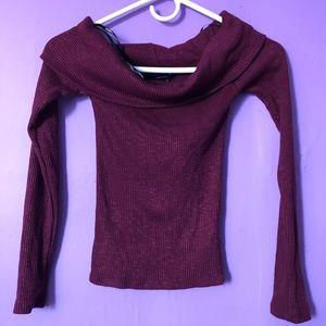 Forever 21 burgundy knit top off shoulder shirt